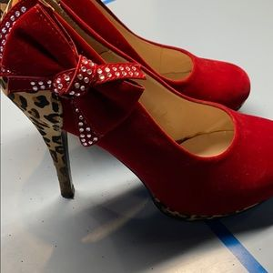 Cheetah and Red Suede Heels